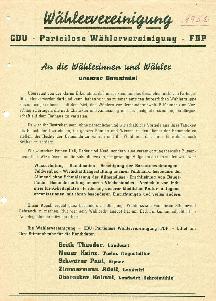 Wahlaufruf überparteiliche Wählergemeinschaft 1956